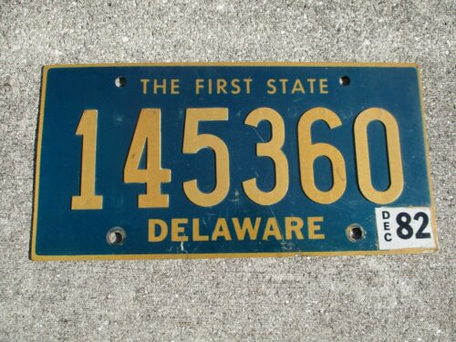 Delaware 1982 Riveted numbers License plate #   145360
