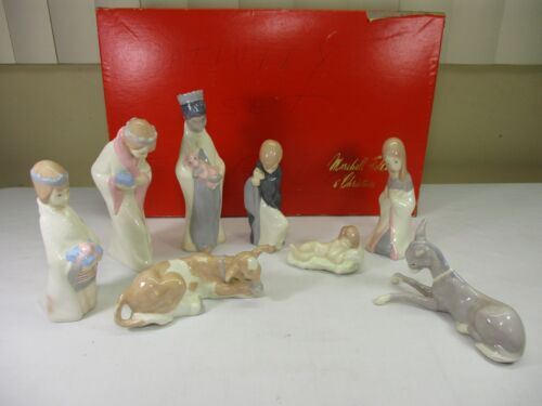 Vintage Ceramic Nativity Set Jesus Mary Joseph 3 Kings Animals - Marshall Fields