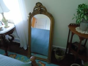 ANTIQUE LARGE WOOD GOLD VICTORIAN PIER MIRROR LARGE CROWN ORNATE