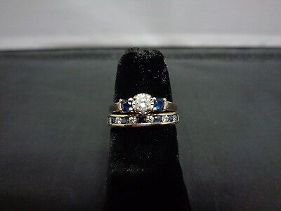 Diamond and blue sapphire 14K white gold wedding set