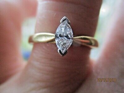 18ct yellow gold Marquise cut 0.37 diamond ring..RRP £1500