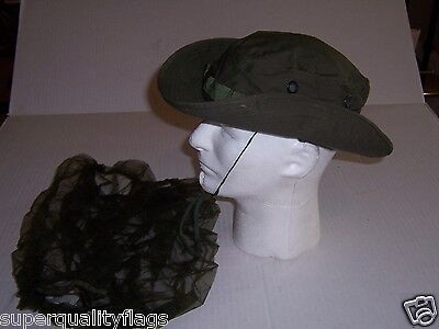New boonie Vietnam war od green tropical combat hat cap size 7 1/4 1969 date