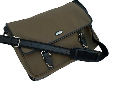 New SAMSONITE MESSENGER BAG Carry on Overnight Travel Canvas and Leather Brown