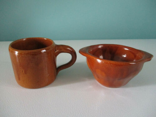 VTG Bybee Pottery Kentucky Smaller Mug and Bowl with Tab Handles, Brown, V.Good