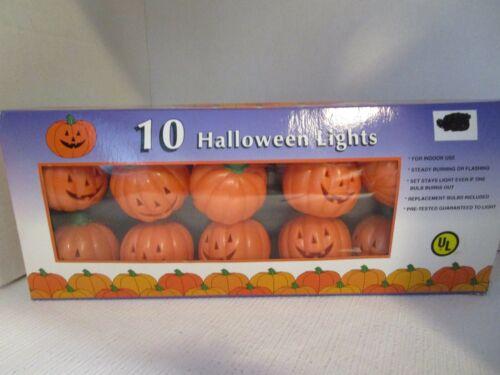 10 Halloween Flashing Pumpkins Jack O Lantern Electric String Lights Set NEW