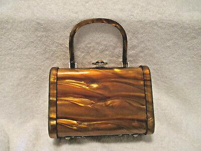1940s Handbags and Purses History Vintage~Walborg~Ladies Amber Color Lucite Purse~Rectangle Shape~Box Purse~1940's $127.40 AT vintagedancer.com