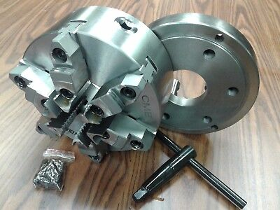 8 6-jaw Self-centering Lathe Chuck W. Topbottom Jaws D1-6 Adapter Back Plate