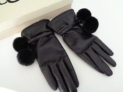 BNWT Ugg Australia Brita Black Leather Pom Pom Gloves with Gift Box size M