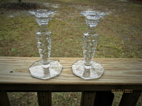 2  American  Fostoria  candle  holders