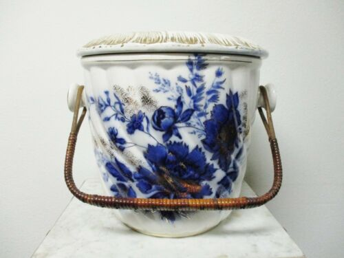 19TH CENTURY EXTRA LARGE VICTORIAN FLOW BLUE FOLEY ENGLISH SLOP JAR W/ HANDLE