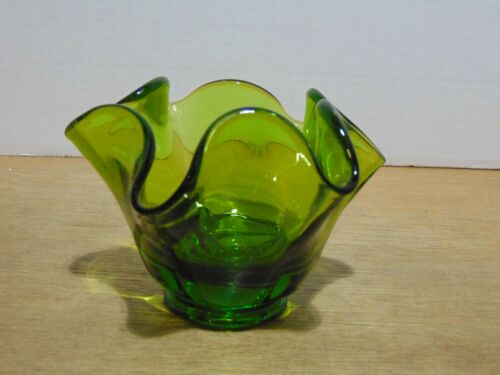 """Smith Glass 4102 Simplicity Candleholder Forest Green 3 1/2"""" Height"""