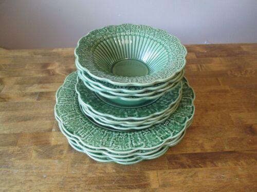 12 Pieces of Bordallo Pinheiro Plates and Bowls, Portugal Grape Leaf Grapevine