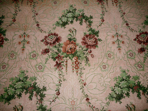 Vintage French Roses Garland Tapestry Jacquard Fabric ~  Rose Green ~ Upholstery