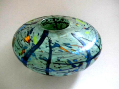 SIGNED PETER LAYTON British Studio Art Glass vase 15cm wide