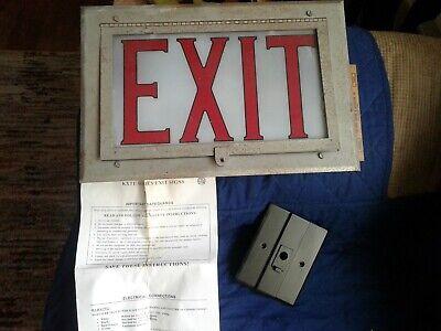 Very Cool Vintage 10 X 15 Exit Sign-2 Lights-original Brackets
