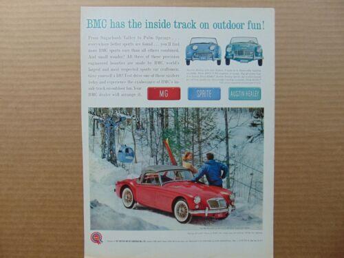 1961 RED MG ROADSTER SKI SUGARBUSH VALLEY VERMONT vintage art print ad