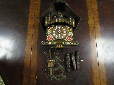 Vintage German Black Forest movement music wooden cuckoo clock