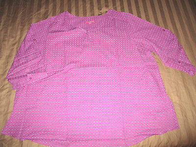New  Purple Swiss Polka Dot 18 20 1X Peasant Blouse Plus Oversized Shirt Fb