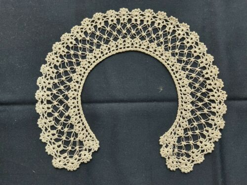 Antique Beautiful Vintage Handmade Lace Collar Art Deco 100% Cotton Ivory