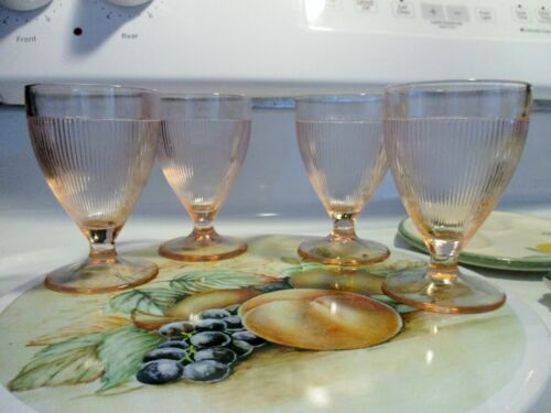 Vintage Homespun 5oz Light Pink Footed Glasses x4 in Excellent Condition