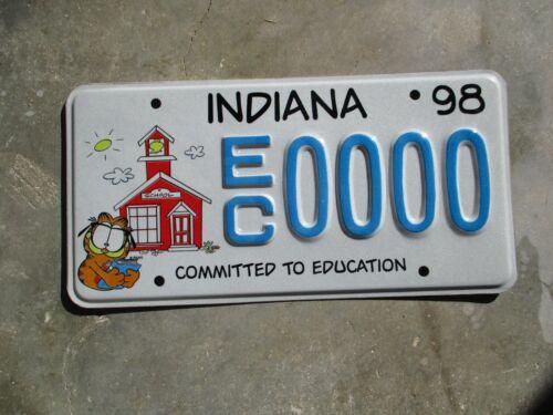 Indiana 1998 Education Garfield Sample license plate #  0000