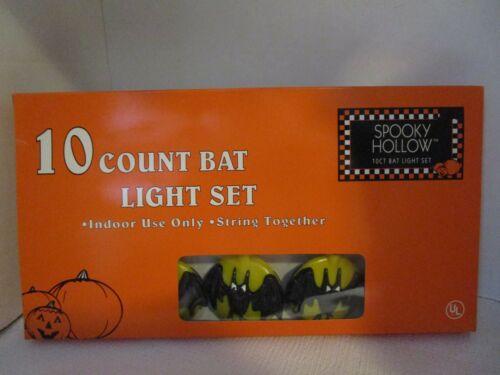 Vintage 10 Halloween Bat Electric String Lights Set Indoor Use Spooky Hollow NEW