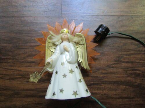 VINTAGE PLASTIC ANGEL LIGHTED CHRISTMAS TREE TOPPER-WORKS