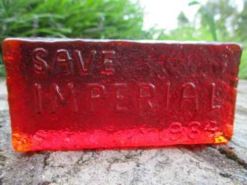 RARE 1984 SAVE IMPERIAL GLASS RUBY RED BRICK