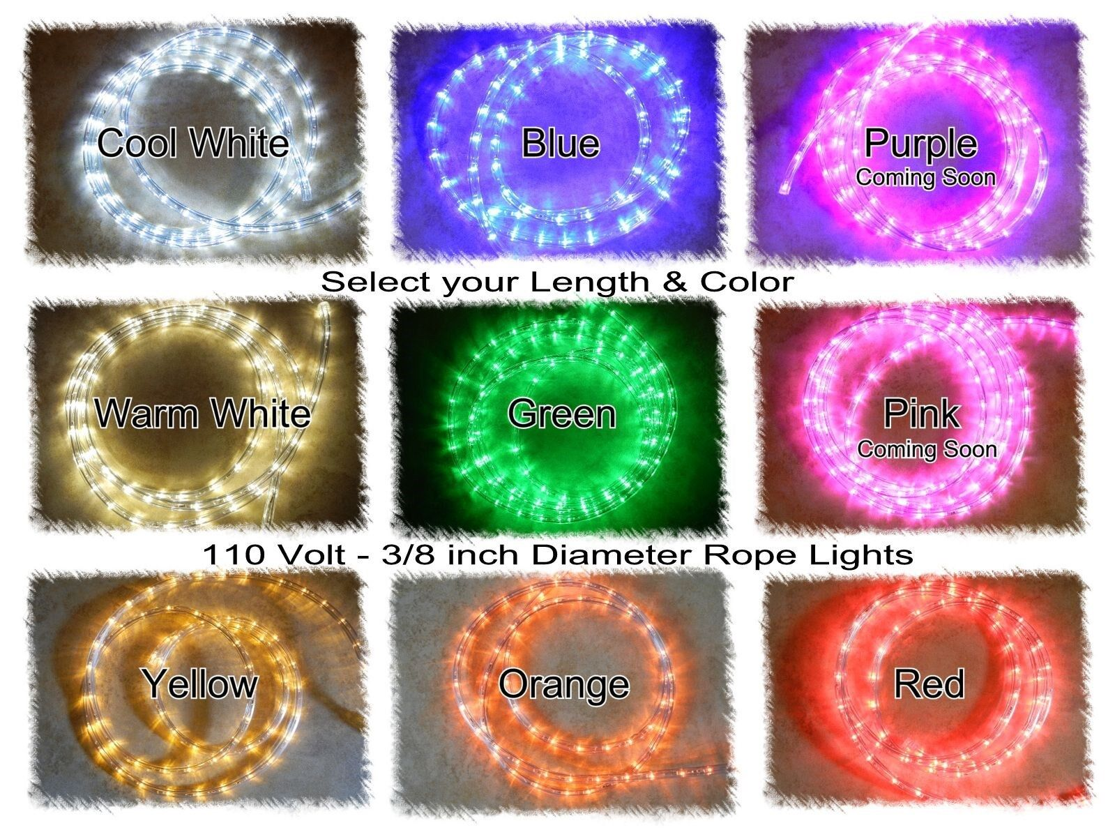 "LED Rope Christmas Light Strips - 3/8"" 110V - Warm or Cool W"