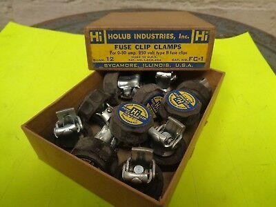 12 Holub Industries Fc-1 Fuse Clip Clamps 0-30 Amp 250 Volt Type B Hi Nos
