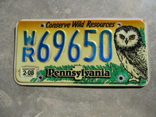 Pennsylvania 2008 OWL license plate #  69650