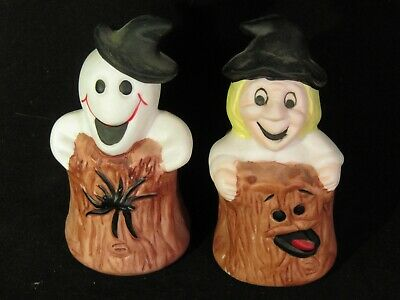 Vintage White Witch and Ghost in a Brown Log Halloween  Salt & Pepper Shakers