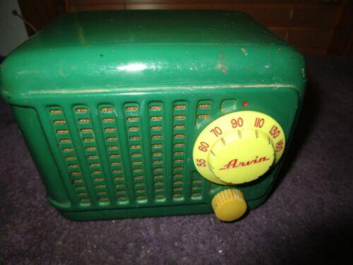 Original Leaf Green Arvin Metal Case 243-T Antique Radio