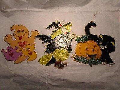 Vintage Halloween Witch Cat Ghost Plastic 'Stained Glass' Decorations Set - Vintage Halloween Decorations Plastic