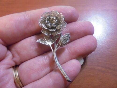 Vtg Sterling silver filigree flower pin brooch 5.8 grams