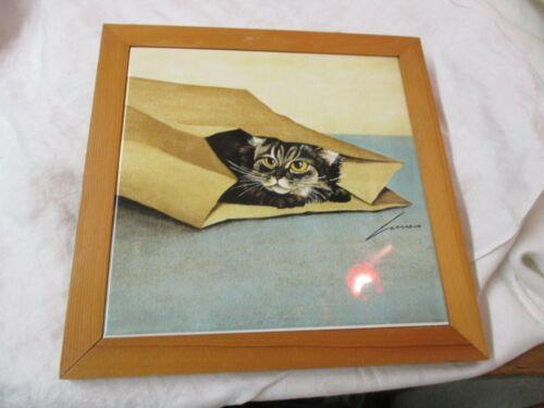 Vintage 1986 Lowell Herrero porcelain wood Trivet Cat Hiding in Bag