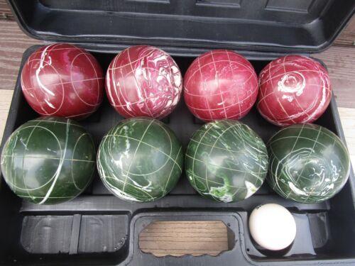 Vintage Spaulding Bocce Ball Set In Case-8 Balls Red & Green Swirl+ Jack Pallino