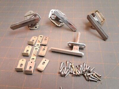 3 Stanley Cabinet Spring Latches Art Deco Style with Catches and Screws