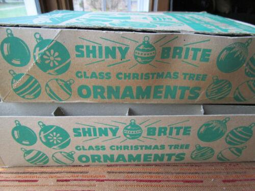 "2 Vtg Shiny Brite Tree Ornament Half Box EMPTY w/1 Lid no flaps 13x10 & 11x8.5"""