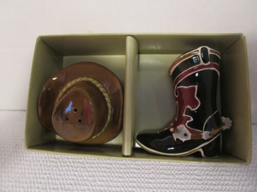 Happy Trails Boot & Cowboy Hat Ceramic Salt & Pepper Shakers by Sonoma Lifestyle