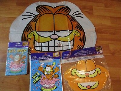 Garfield Birthday Party Supplies NOS Multi-color 4pc Lot Party Express