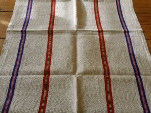 Antique Vtg. Basque French Towel ~ Textured Cotton Linen Fabric ~ Red Blue