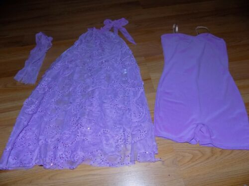 Child Size Large Weissman Lilac Purple Dance Costume Unitard Dress & Hair Tie