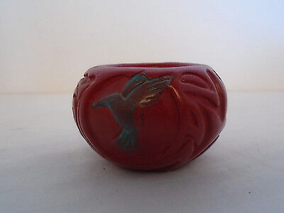 Sandy Whitefeather Native American Handmade Clay Folk Art Red Candle Holder
