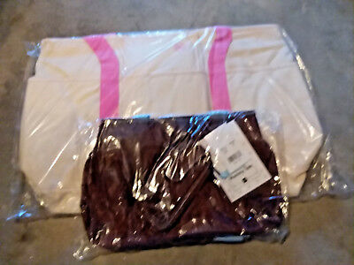 """BNWT Belly Basics """"Mommy Diaper Bags""""&""""Tote"""" (Off White Bag& Chocolate Tote)"""