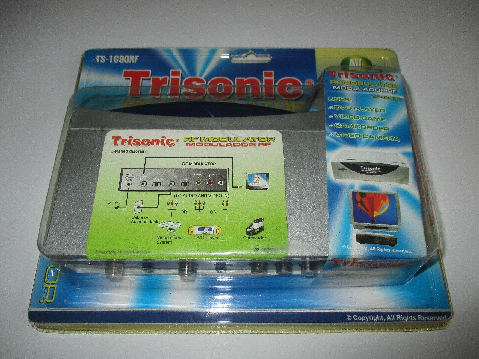 TRISONIC TS-1690RF RF Modulator Auto Switch AV/RF NEW