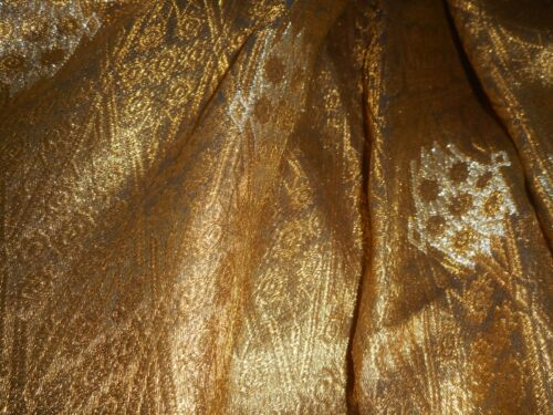 Antique French Geometric Diamond Gold Silver Metallic Lame Fabric ~ Flapper