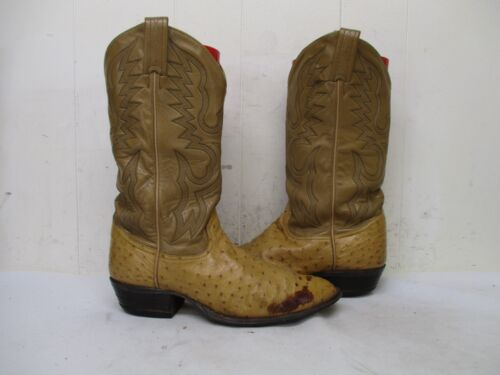 TONY, LAMA, Tan, Full, Quill, Ostrich, Leather, Cowboy, Boots, Mens, Size, 9, D, Style, 8122,