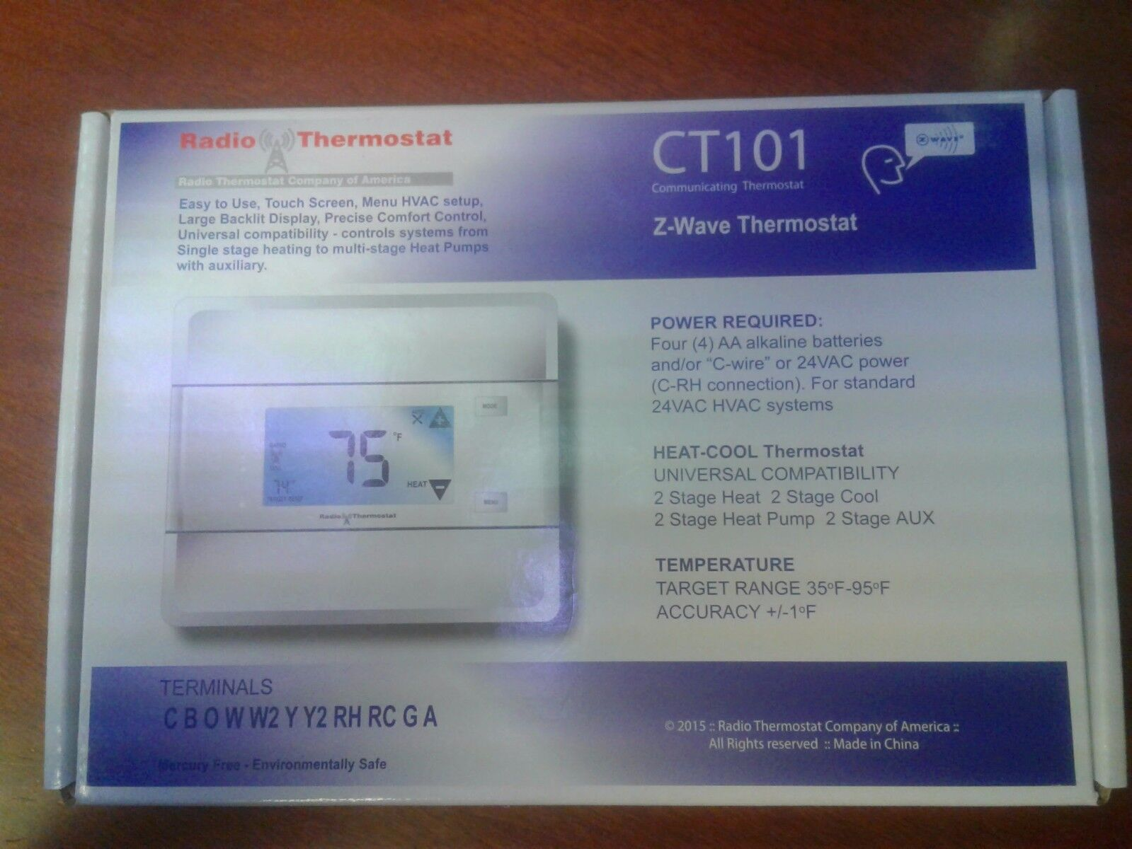 2GIG CT101 Thermostat Z-wave AC HVAC 4 Stage Heat Touch Screen Programmable Go!