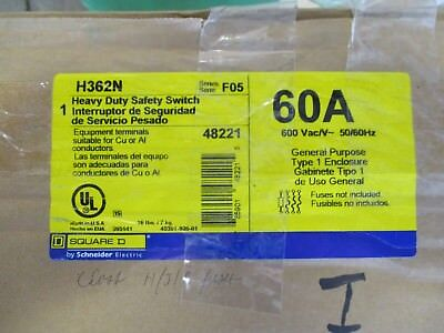 Square D H362n Series F 60 Amp 600 Volt Fusible Disconnect- New